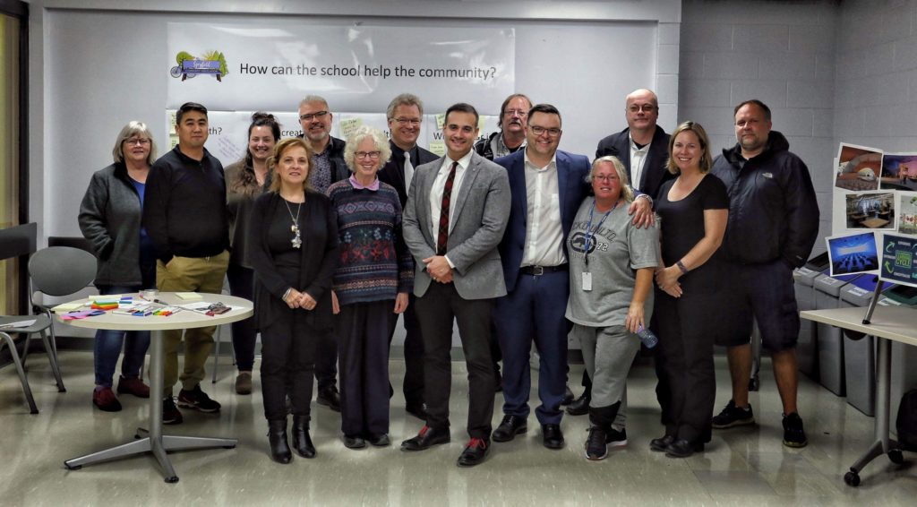 Group photo of the people involved in the meeting for exploring the vision for the new high school in Spryfield